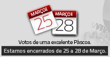 Páscoa 2016, encerrados de 25 a 28 de Março