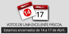 Páscoa 2017 - encerrados de 14 a 17 de Abril