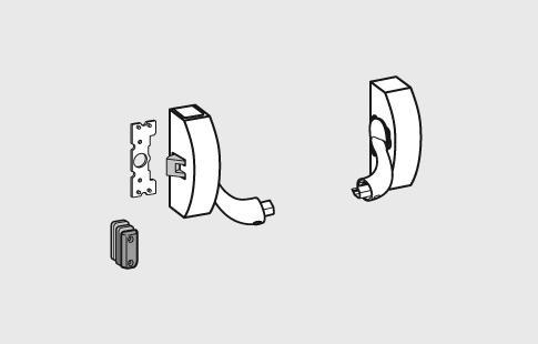 AFCAMÕES ABA-1001,  Bloqueio de um só ponto, modular, para portas padrão, sem tranca de segurança anti-golpe e com dispositivo de bloqueio do trinco.