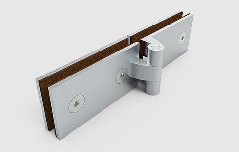AFCAMÕES DBR-205, dobradiça horizontal para vidro fixo, com abertura num só sentido a 180º.