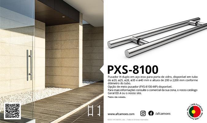 AFCAMÕES PXS-8100, puxador H para portas de vidro